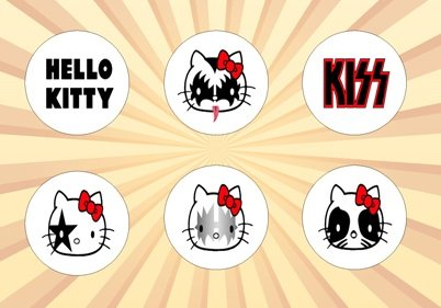(Hello Kitty Kiss Set of 6 - 1 Inch Pinback Buttons)