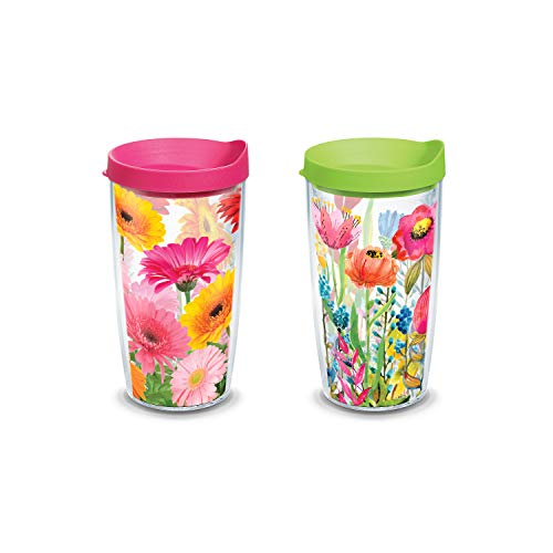 Tervis Gerbera Daisies/Watercolor Wildflowers Tumbler (16 oz Set of 2, Clear Assorted) ()