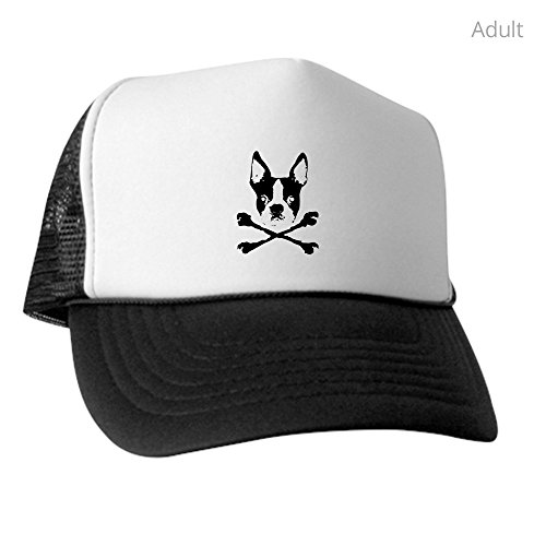 CafePress - Boston Terrier Crossbones - Trucker Hat, Classic Baseball Hat, Unique Trucker Cap Black/White