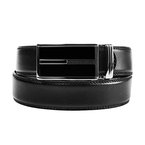 DG Hill Mens Designer Geniune Leather Dress Belt Sliding Ratchet Auto Buckle (Designer Style Belt Buckle)