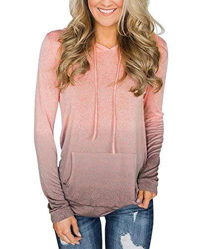 - NEWCOSPLAY Women Hoodies-Tops Floral Printed Long Sleeve Drawstring Sweatshirt with Pocket (S, 0047pink)