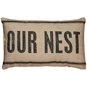 Primitives by Kathy 3-Stripe Our Nest Dark Pillow, 24-Inch by 15-Inch