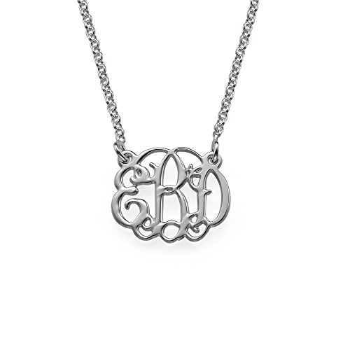 (Small Monogram Necklace Custom Made with Any Initial Sterling Silver - Gift for Her)