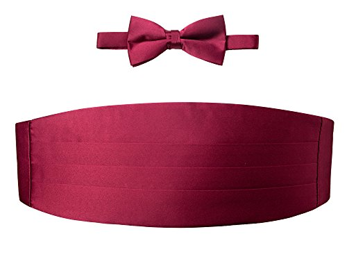 Spring Notion Men's Cummerbund and Bow Tie Set Burgundy (Cummerbund Burgundy Set)