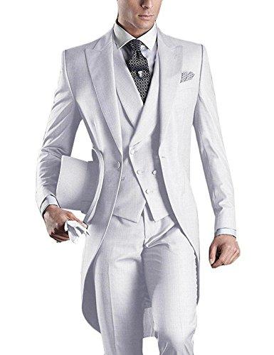 GEORGE BRIDE Premium Mens Tail Tuxedo 3pc Tailcoat Suit In Gray,Suit Jacket, Vest, Suit Pants (M, White)