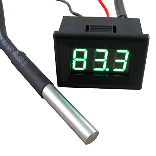 Yeeco 0.36' -55-125°C Black Shell Green LED Digital Thermometer Temperature Gauge Panel Temp Measure DS18B20 Waterproof Temp Probe for Air/Water/Pond