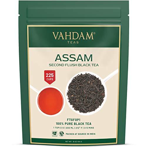 Hoja de Te Negro Assam (+200 Tazas) | FUERTE, MALTEADO E INTENSO | 100% Puro, Sin Mezclas | Te Negro a Granel | Sirve de TE FRIO, Infusion Caliente o Te Kombucha | Te de Hoja Larga FTGFOP1, 454g