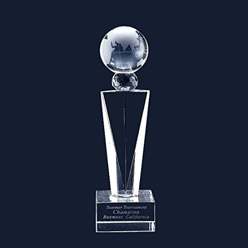 West East Imports Customize Laser Trophy Engraving Crystal Glass Globe Trophy Includes Base Engraving (Small-Etch)