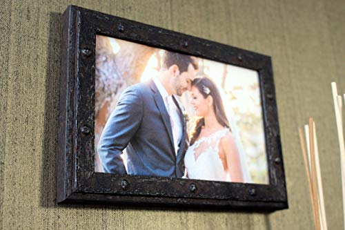 Steam Punk Frame,Aged Steel finish,Double Hinged frame,Single Photo frame, Steampunk Anvil collection, PEFC certified, Wedding, Anniversary, Distressed