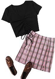 MakeMeChic Women's Short Sleeve Crop Top Tee & Plaid Print High Waist Mini S