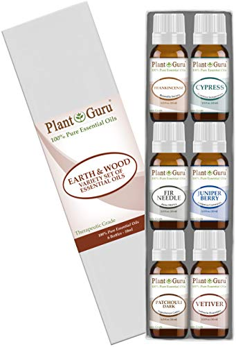(Earth & Wood Essential Oil Variety Set Kit - 6 Pack - 100% Pure Therapeutic Grade 10 ml. Includes Frankincense, Cypress, Fir Needle, Juniper Berry, Patchouli, Vetiver. )