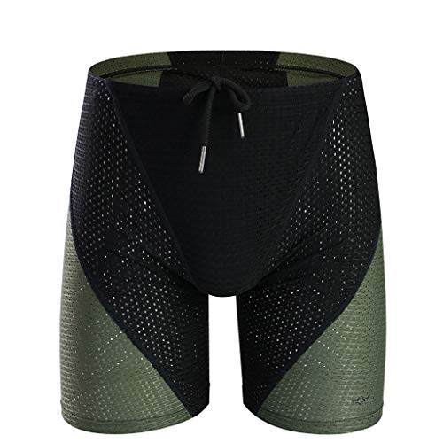 - Jhualeek Mens Hollow Openwork Drawstring Bikini Cover up Lounge Underwear Stitching Boxer Shorts Swim Trunks Black
