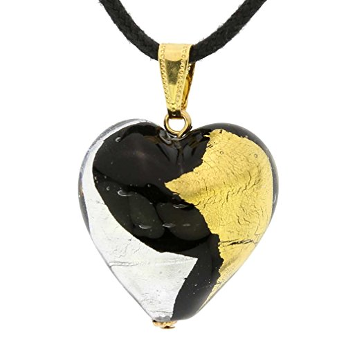 Murano Glass Heart Necklace (GlassOfVenice Murano Glass Heart Pendant - Gold and Silver)