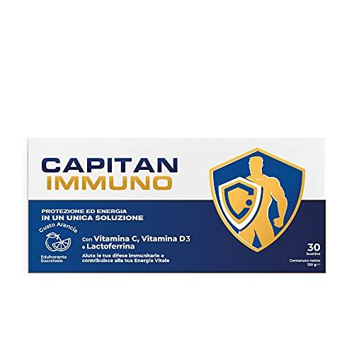 Capitan Immuno - Lattoferrina Pura + Vitamina C 1000mg + Vit. D 2000 UI - Integratore Difese Immunitarie in Polvere Prodotto in Italia - Gusto Arancia - 30 Bustine