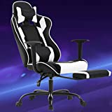 BestMassage Gaming Chair Ergonomic Swivel Chair High Back Racing Chair, with Footrest, Lumbar Support and Headrest
