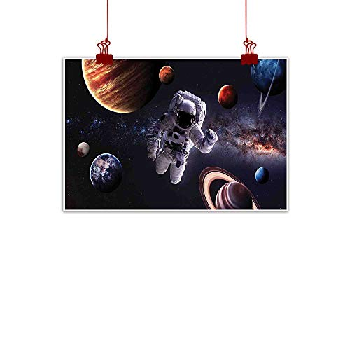 Sunset glow Wall Painting Prints Outer Space,Astronaut Between Planets Mars Neptune Jupiter Plasma Ethereal Sphere Picture,Multicolor 24