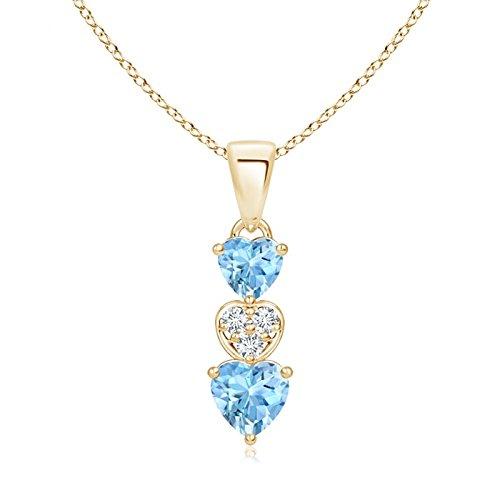 - Dangling Aquamarine and Diamond Triple Heart Pendant in 14K Yellow Gold (5mm Aquamarine)