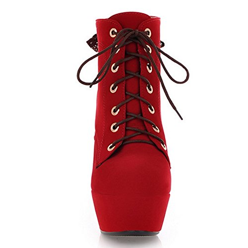 Women Fashion Boots 2 Lace COOLCEPT Red Up q5PwdTvx