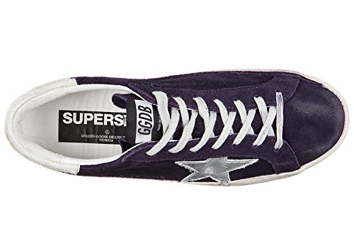 Golden Goose Chaussures Baskets Sneakers Homme en Daim Superstar Violet