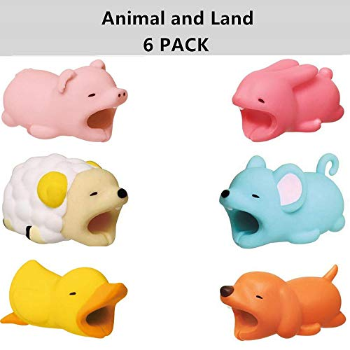 - Cable Protector for iPhone iPad Cable Cord Plastic Cute Land Animals Phone Accessory Protects USB Charger Data Protection Cover Chewers Earphone Cable Bite 6 PC (PDSDMR)