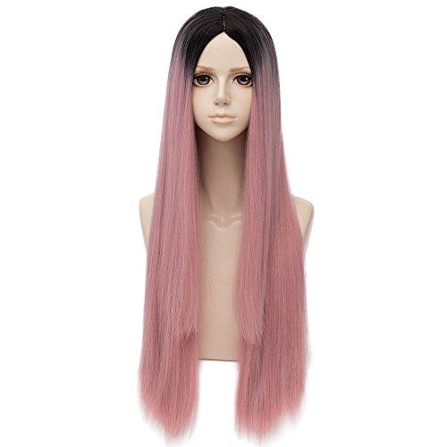 Falamka - Peluca larga, lisa, rosa, con raices negras para mujer