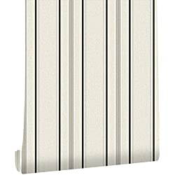 """HaokHome 20305 Modern Stripe Wallpaper Grey/Black/White Textured for Bedroom Accent Wall 20.8""""x 31ft"""