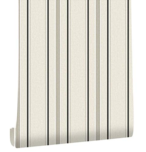 Modern Stripe Wallpaper (HaokHome 20305 Modern Stripe Wallpaper Grey/Black/White Textured for Bedroom Accent Wall 20.8