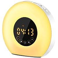 SAWAKE Lumière de Réveil, Lumière LED Multifonctionnel Lampe de Réveil avec Simulation du Lever/du Coucher, FM Radio, Fonction Snooze, Contrôle Tactile, 6 Sons Naturels, 7 Couleurs et 10 Luminosité