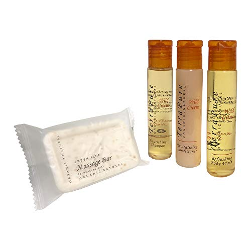 Terra Pure Wild Citrus Organic & Natural BNB Amenity & travel Sets - Shampoo, Conditioner & Body Wash (SETS) (200 Piece)