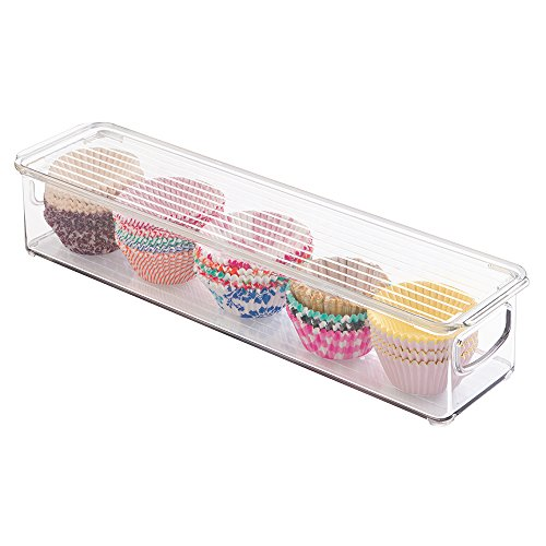 "mDesign Refrigerator, Freezer, Pantry Cabinet Organizer Bin with Lid for Kitchen - 16"" x 4"" x 3"", Clear"