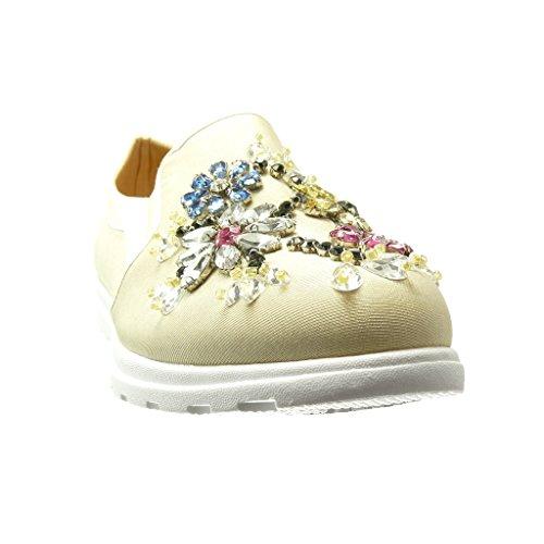 Angkorly - Zapatillas de Moda Deportivos Mocasines slip-on suela de zapatillas mujer flores joyas fantasía Talón tacón plano 0 CM - Beige