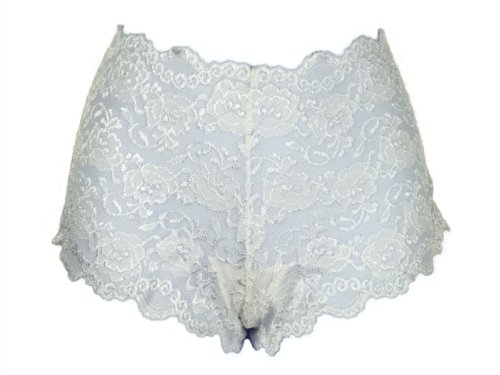 Boyshort Hugger Spandex Hip (Ally Rose Stretch Lace Boy Shorts Hipsters Hip Huggers White Size 12 (2X))