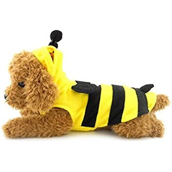 SELMAI Halloween Yellow Bumble Bee Costume Hooded for Small Dog Cat Puppy Fleece Hoodie Vest Pullover Size XL