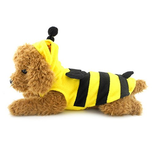 Bumblebee Dog Costumes (SELMAI Halloween Yellow Bumble Bee Costume Hooded for Small Dog Cat Puppy Fleece Hoodie Vest Pullover Size M)