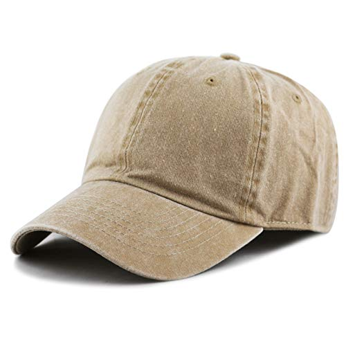 The Hat Depot 100% Cotton Pigment Dyed Low Profile Six Panel Cap Hat (Tan)