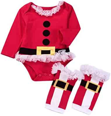 ab3eded745e iumei 2PCS Baby Girl Boy Clothes My First Christmas Long Sleeve Romper+Leg  Warmers Set