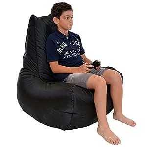 Gamer Bean Bag Black Polyester Kids Bean Bag Furniture