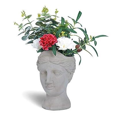 West Beauty Cement Goddess Head Indoor/Outdoor Garden Planter Pot, Greek Lady Statue Flower Planter, Gray