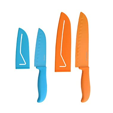 Farberware 4-Piece Non-Stick Resin Santoku Knife Set, 5-Inch and 7-Inch
