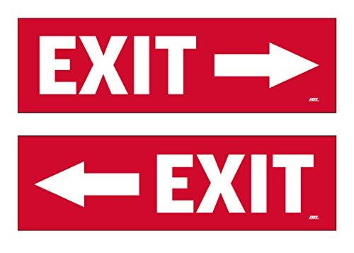 2 Pack Exit Left Right Arrow Sticker Set Sign Warning 9x3 Inch Vinyl Decal Indoor Outdoor Window Door Business Retail Store