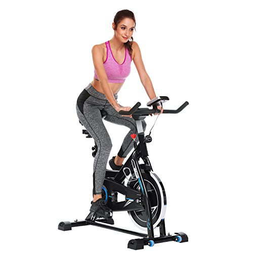 Indoor Cycling Bike Smooth Belt Driven, Best Spin Bike for Home (49 lb Flywheel, S-9011N) YUEBO
