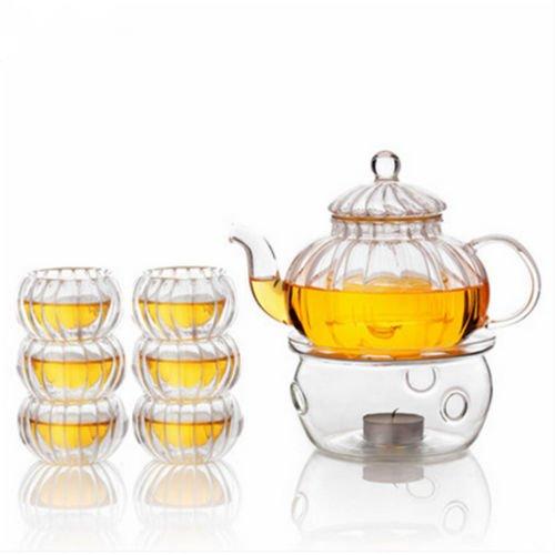 LYEJM 600ml 6 Cups Tealight Warmer Clear Pumpkin Tea Glass Pot Set Infuser Coffee Pot LYEJM by LYEJM (Image #4)