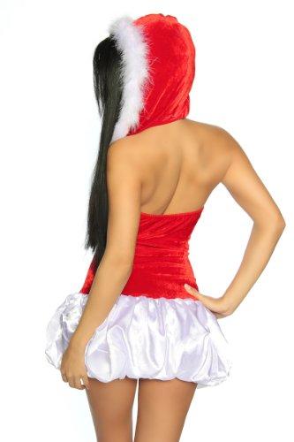 Weihnachts-Petticoat-Kleid Damen rot/weiß OS