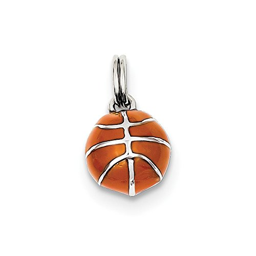 FB Jewels Solid Sterling Silver 3D Enameled Basketball Charm