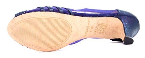 Sabatine Ladies Womens (FEE 0506-3) Peep-Toe Medium Heel Shimmer & Mesh Party/Evening Shoe in Black, Blue Silver Size 3,4,5,6,7,8 Blue