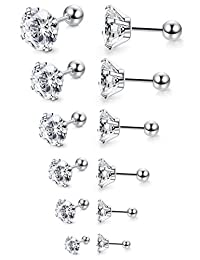 Jstyle 6-12 Pairs 18G-20G Stainless Steel Mens Womens Stud Earrings Cartilage Ear Piercings Helix Tragus Barbell CZ 3-8mm