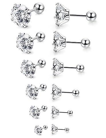 Jstyle 6 Pairs 18G Stainless Steel Mens Womens Stud Earrings Cartilage Ear Piercings Helix Tragus Barbell CZ 3-8mm - Ear Piercing Stud