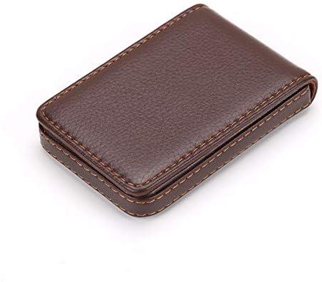 UOYAN Vertikale Magnetverschluss Visitenkartenetui PU Lederhülle Visitenkartenetui Bank Kreditkartenbox Kassette Office (Color : Brown)