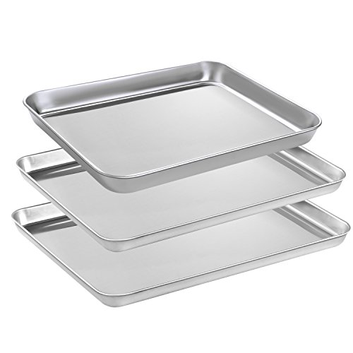 Baking Sheets Set, HEAHYSI Stainless Steel Cookie Sheets & Large Baking Pans for Oven, Non Toxic & Healthy,Superior Mirror Finish & Easy Clean, Dishwasher Safe