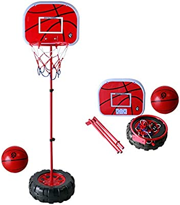 a6ed8d8dd53 ... Kids Basketball Hoop Stand Set Adjustable Height 3.5 ft. -4.6 ft with  Ball   Net Play Sport Games for Toddlers Boys Girls Children Indoors  Outdoors Toys